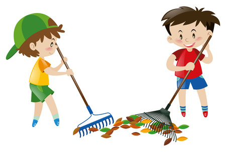 rakes: Two boy sweeping leaves with rakes illustration Illustration