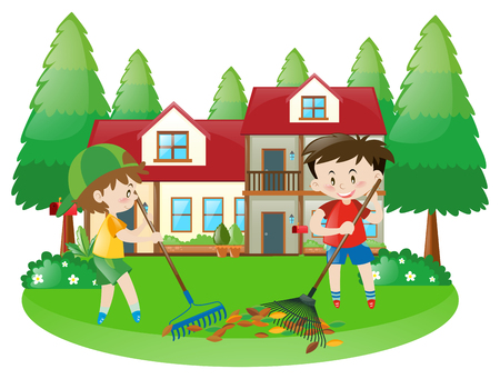 raking: Scene with two boys raking dried leaves illustration