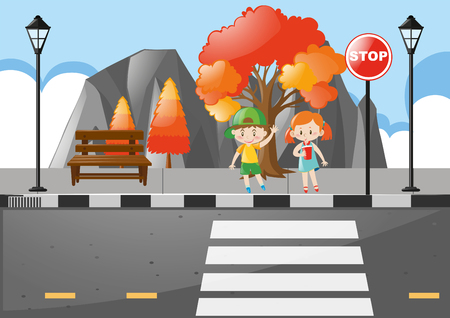 crossing street: Scene with kids crossing street illustration
