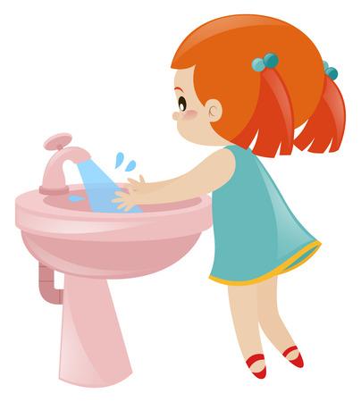 シンクの図に手を洗う女の子