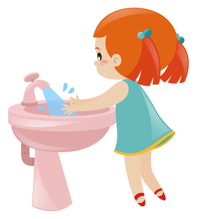 Girl washing hands in sink illustration