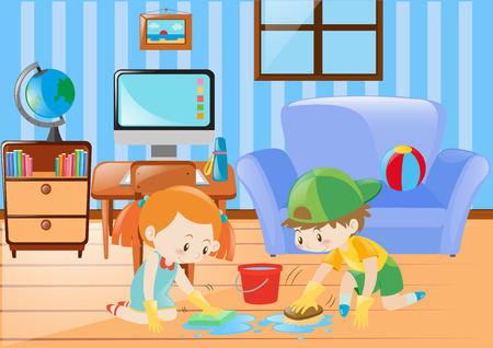Boy and girl cleaning the floor illustration Illusztráció