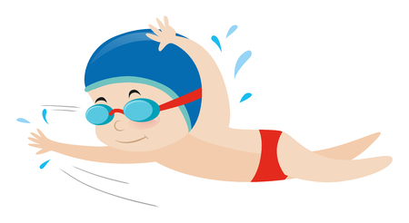 Little boy swimming freestyle illustration