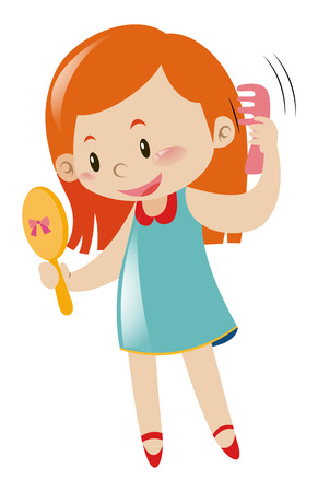 Girl holding mirror and comb illustration  イラスト・ベクター素材