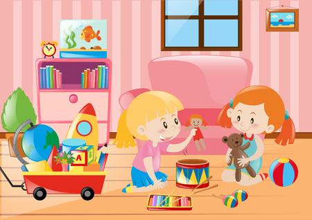 二人の女の子が部屋の図におもちゃで遊んで