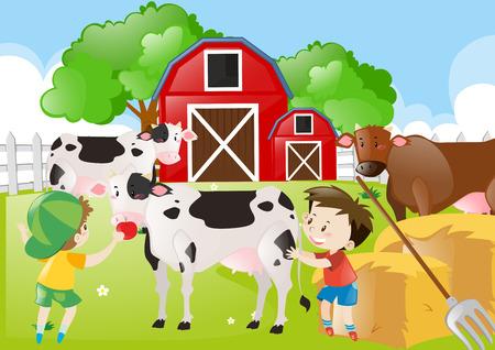 Two boys feeding cows in the farm illustration