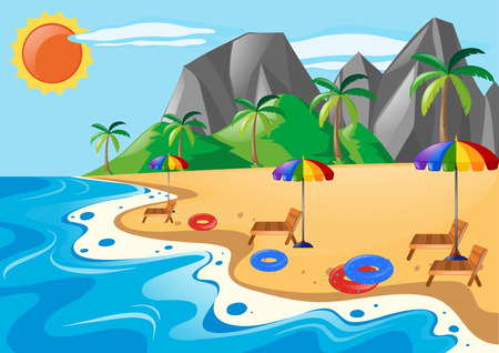 Scene with seats on the beach illustration