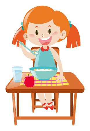 イラストを食べるダイニング テーブルの上の少女  イラスト・ベクター素材