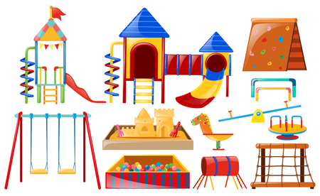 Different kinds of equipmeant at playground illustration