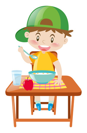 Little boy at dining table eating breakfast illustration