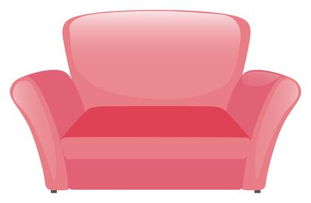 white sofa: Pink sofa on white background illustration