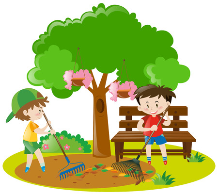 raking: Two boys raking leaves in garden illustration Illustration
