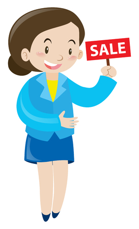 woman holding sign: Sale woman holding sign for sale illustration