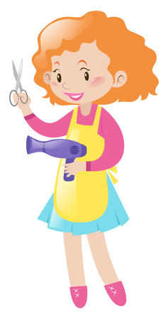 pair of scissors: Hairdresser holding pair of scissors and dryer illustration Illustration