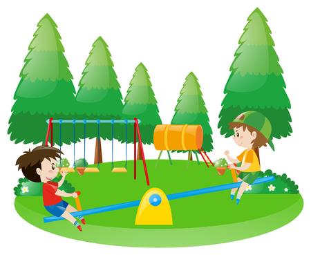 Twee jongens op wip illustratie