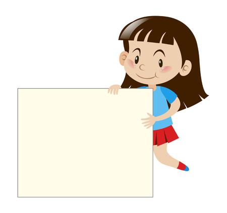 ホワイト ボードの図を持って幸せな女の子