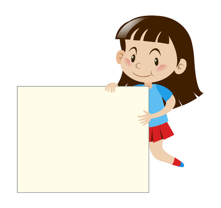 Happy girl holding white board illustration Vectores