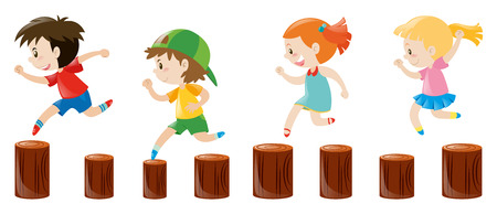 logs: Four kids running on the logs illustration