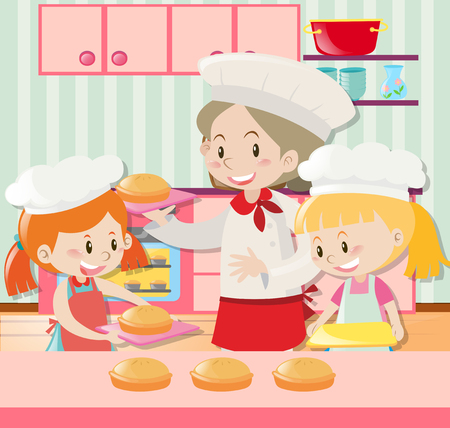 two girls: Baker and two girls baking pie illustration