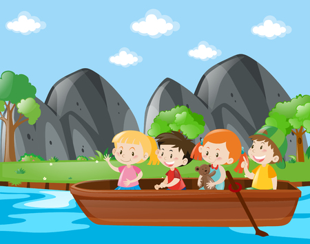 Four kids rowing boat along the river illustration Vectores