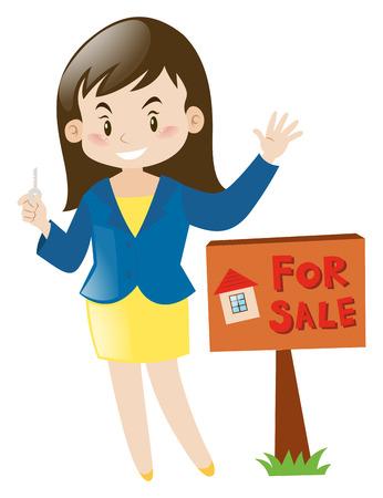 Real estate agent holding house key illustration