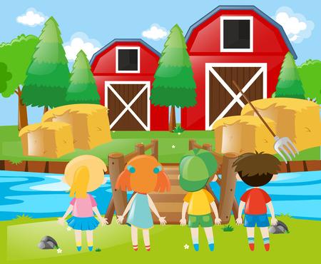Children standing in the farm illustration Illustration