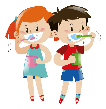 Boy and girl brushing teeth illustration