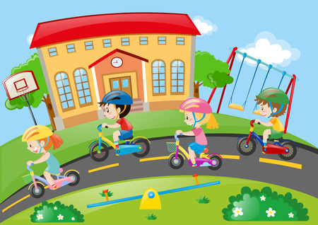 road bike: Children riding bike on the road illustration Illustration