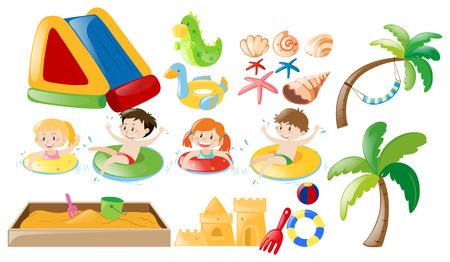 Children swimming and beach toys illustration 일러스트