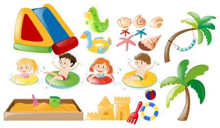 Children swimming and beach toys illustration Çizim