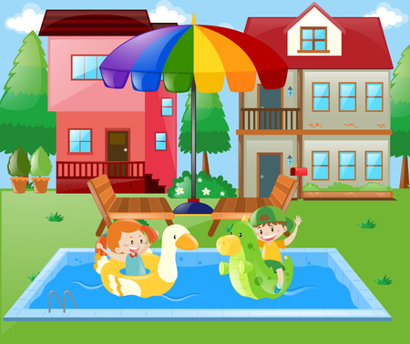 swimming pool home: Boy and girl playing in the water at home illustration