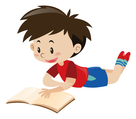 red shirt: Boy in red shirt reading book illustration