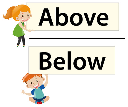 below: Kids holding wordcards above and below illustration