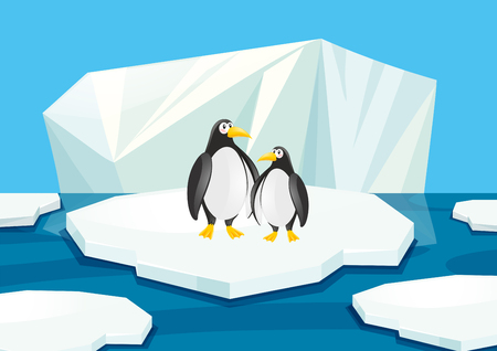 Two penguins standing on ice illustration