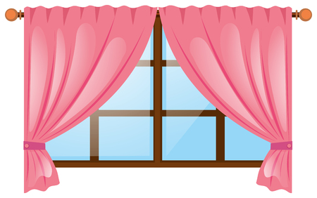 Window with pink curtain illustration Illustration