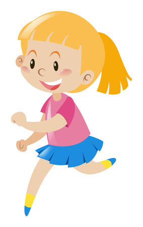 blond hair: Girl with blond hair running illustration