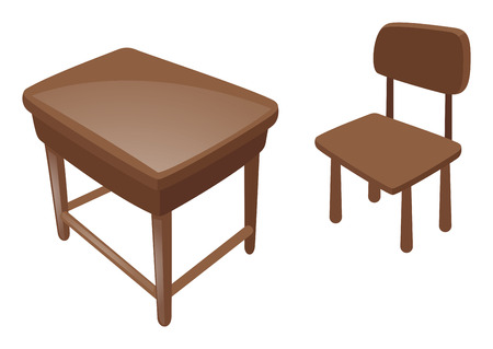 wooden desk: Wooden desk and chair illustration