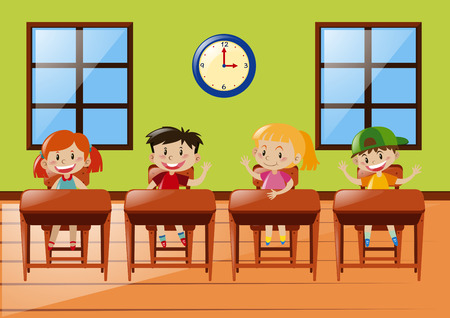 schoolmate: Four students sitting in classroom illustration