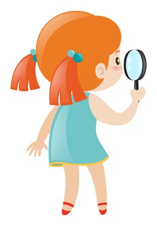 Little girl holding magnifying glass illustration