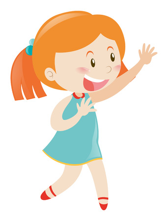 blue smiling: Little girl in blue smiling illustration