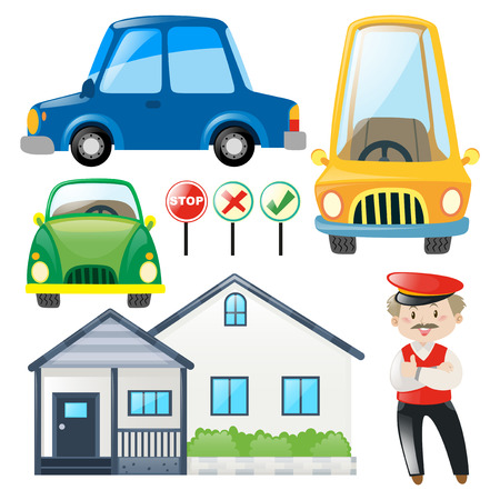 Set of cars and house illustration Vectores
