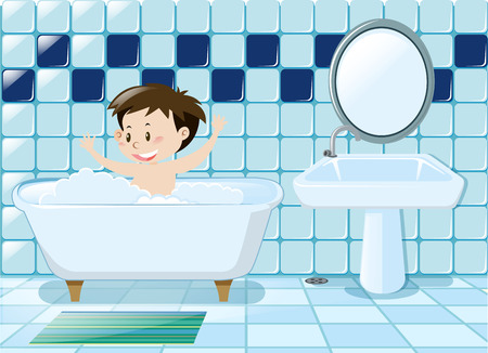 Boy taking bath in the bathroom illustration Vectores