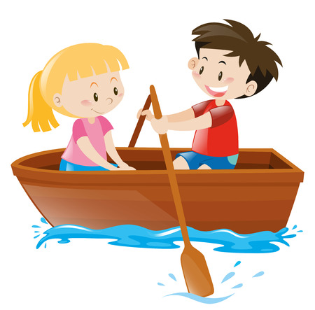 Boy and girl in rowboat illustration Фото со стока - 63490205