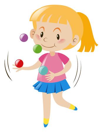 Blond girl juggling balls illustration