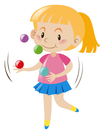 Blond girl juggling balls illustration