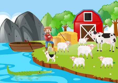 farm land: Farmer and animals in the farm illustration