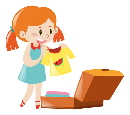 suitcase packing: Little girl packing suitcase illustration