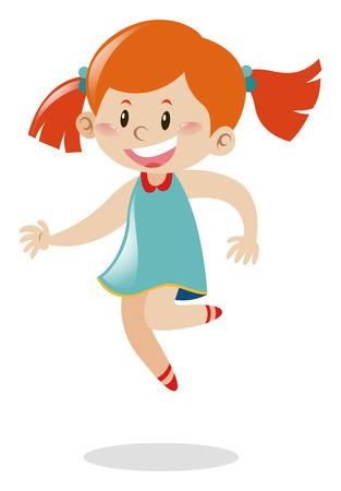 ジャンプの図赤い髪の少女  イラスト・ベクター素材