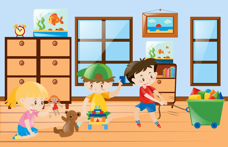 Children playing toys inside the room illustration