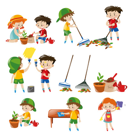 chores: Children doing different chores illustration